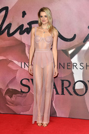 Lily Donaldson totally stole the spotlight with this sheer pink gown by Burberry at the Fashion Awards 2016.