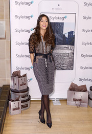 Lindsey Calla donned a chic mixed-pattern shirtdress for the launch of Styletag.