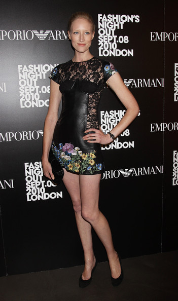 Jade showed off a leather and lace clad cocktail dress, which featured floral embroidery.