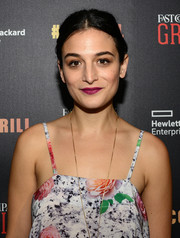 Jenny Slate's purple lipstick worked beautifully with her colorful dress at the Fast Company Grill.