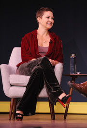 Kate Hudson teamed Christian Louboutin platforms with velvet separates for the Fast Company Innovation Festival.