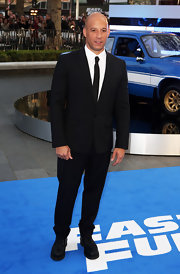 Vin Diesel chose a classic black suit and matching tie for his look at the premiere of 'Fast & Furious 6.'