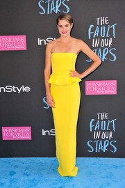 Shailene Woodley was a drop of sunshine in a bright yellow strapless peplum gown by Ralph Lauren during the premiere of 'The Fault in Our Stars.'