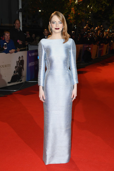 Emma Stone looked supremely elegant in an ice-blue column dress by Louis Vuitton at the UK premiere of 'The Favourite.'