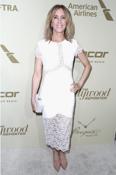 Felicity Huffman Box Clutch [the hollywood reporter,white,clothing,cocktail dress,dress,fashion model,hairstyle,fashion,premiere,shoulder,footwear,reporter,arrivals,hollywood,waldorf astoria beverly hills,sag-aftra,american airlines,breguet,dacor,inaugural emmy nominees night]