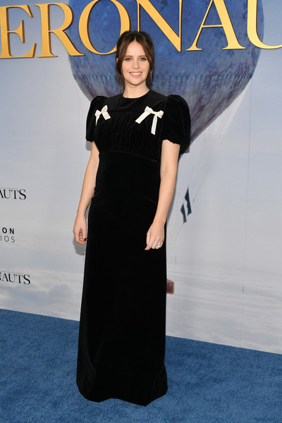 Felicity Jones Evening Dress [the aeronauts,clothing,premiere,dress,carpet,little black dress,red carpet,yellow,fashion,flooring,award,felicity jones,new york,sva theater,premiere,new york premiere]