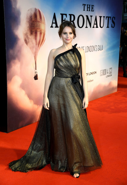 Felicity Jones One Shoulder Dress [the aeronauts uk premiere,carpet,red carpet,clothing,dress,premiere,fashion model,fashion,gown,flooring,haute couture,felicity jones,london,england,odeon luxe leicester square,bfi london film festival]