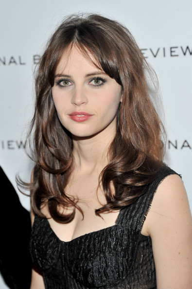 Felicity Jones Long Wavy Cut with Bangs