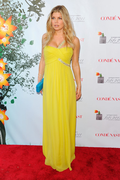 Fergie Evening Dress [yellow,flooring,dress,shoulder,carpet,gown,cocktail dress,joint,fashion model,day dress,fergie,fifi awards,arrivals,lincoln center,new york city,the tent]