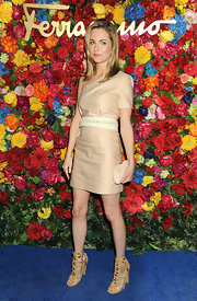 Amanda Hearst chose this nude one-shoulder frock for her look at the Ferragamo event in NYC.