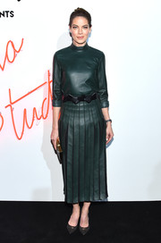 Michelle Monaghan looked fierce in a dark green leather dress by Ferragamo during the brand's Gancio Studios, Celebrating 100 Years in Hollywood event.