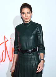 Michelle Monaghan accessorized with a stylish origami-inspired leather belt by Ferragamo at the Gancio Studios, Celebrating 100 Years in Hollywood event.