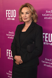 Jessica Lange accessorized with a black Bottega Veneta Knot clutch at the 'Feud: Bette and Joan' NYC event.