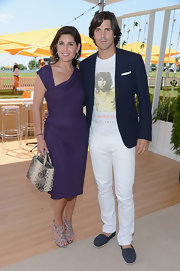 Nacho Figueras sported a laid-back ensemble, consisting of blue espadrilles, a Jim Morrison tee, white jeans, and a navy blazer, at the Veuve Clicquot Polo Classic.