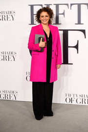 Nadia Sawalha brought a bright flash of color to the 'Fifty Shades of Grey' UK premiere with this hot-pink coat.