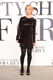 Sam Taylor-Johnson shimmered in a fully sequined Saint Laurent mini dress during the London premiere of 'Fifty Shades of Grey.'