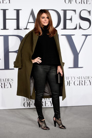 Maria Menounos was appropriately dressed for the cold London weather in an olive-green wool coat, a turtleneck, and leather skinnies during the UK premiere of 'Fifty Shades of Grey.'
