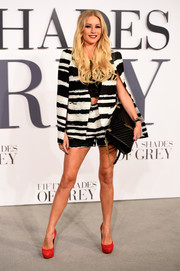 Denise van Outen looked sassy in a black-and-white striped short suit by Lavish Alice during the UK premiere of 'Fifty Shades of Grey.'