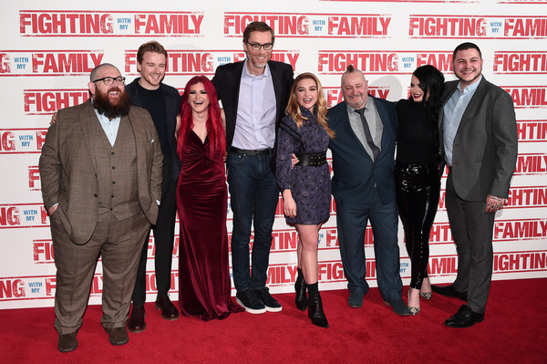 More Pics of Florence Pugh Mid-Calf Boots (1 of 12) - Boots Lookbook - StyleBistro [fighting with my family,red carpet,carpet,premiere,event,flooring,suit,arrivals,nick frost,ricky knight,saraya knight,paige knight,zak knight,uk,vip,premiere]