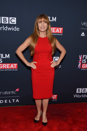 Jane Seymour donned a sleeveless red midi dress with an embroidered waist for the Great British Film Reception.