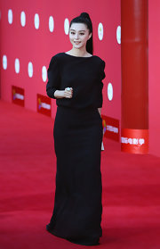Fan was perfectly elegant in black evening gown for the first Beijing International Film Festival.