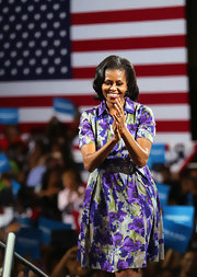 Michelle wore this lovely purple floral shirtdress to address supporters in Miami.