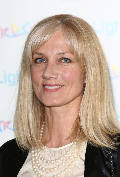 More Pics of Joely Richardson Medium Straight Cut with Bangs (1 of 5) - Shoulder Length Hairstyles Lookbook - StyleBistro