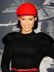 Sara wears a unique red cap with her ensemble at the Flemington Beautiful Girls Fashion Lunch.