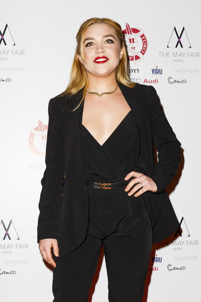 Florence Pugh Leather Belt [clothing,suit,hairstyle,fashion,pantsuit,outerwear,formal wear,fashion model,long hair,fashion design,red carpet arrivals,florence pugh,london,england,the mayfair hotel,london critics circle film awards,the london critics circle film awards]