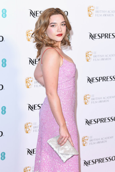 Florence Pugh Envelope Clutch [clothing,dress,cocktail dress,hairstyle,fashion model,premiere,long hair,neck,eyelash,style,red carpet arrivals,florence pugh,nominees party,ee,england,london,kensington palace,british academy film awards,nominees party]