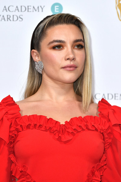 Florence Pugh Dangling Diamond Earrings [hair,face,hairstyle,red,clothing,lip,shoulder,beauty,blond,dress,british academy film awards 2020 nominees,florence pugh,ee,england,london,kensington palace,red carpet arrivals,party,florence pugh,73rd british academy film awards,69th british academy film awards,bafta rising star award,royal albert hall,entertainment,bafta award for best actress in a leading role,academy awards,image,british academy of film and television arts]