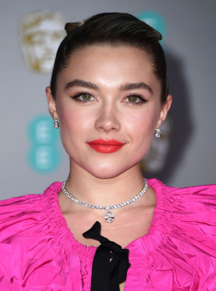Florence Pugh Red Lipstick [hair,face,lip,pink,eyebrow,hairstyle,beauty,chin,fashion,forehead,florence pugh,british academy film awards,ee,england,london,royal albert hall,red carpet arrivals,florence pugh,73rd british academy film awards,stock photography,image,photograph,photography,getty images,celebrity]