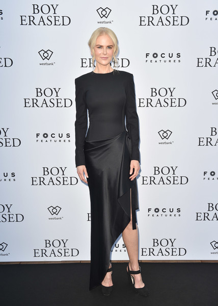 Nicole Kidman looked simply elegant in a dual-textured, high-low dress by Monse at the 'Boy Erased' pre-party.