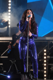 Demi Lovato glimmered in a royal-blue sequin jumpsuit by Dundas at the Fontainebleau Miami Beach New Year's Eve celebration.