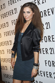 Amber Le Bon had her hair curled and teased for the UK launch of Forever 21.