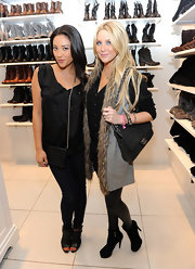 Stephanie Pratt attended a Forever 21 event carrying a classic black Chanel lambskin purse.