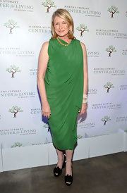 Martha Stewart wore a draped green cocktail dress for the Living at Mount Sinai Gala.