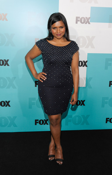 More Pics of Mindy Kaling Leather Jacket (1 of 6) - Mindy Kaling Lookbook - StyleBistro [fox 2012 programming presentation post-show party,clothing,dress,cocktail dress,shoulder,hairstyle,fashion,premiere,joint,little black dress,footwear,new york city,wollman rink - central park,mindy kaling]