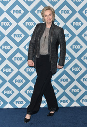 Jane Lynch teamed a charcoal blazer with satin-trimmed black slacks for the Fox All-Star party.