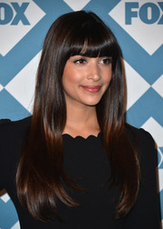 Hannah Simone stuck to her flowing tresses and trademark bangs when she attended the Fox All-Star party.