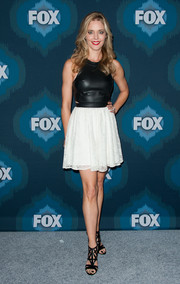 Christina Moore hovered between edgy and feminine in this leather and lace number during the Fox All-Star party.