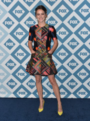 Jessica Stroup looked electrifying at the Fox All-Star party in a House of Holland dress with a vibrant star/geometric print.