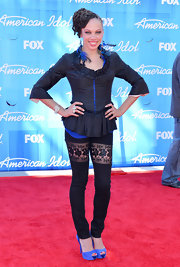Naima Adedapo hit the red carpet before the 'American Idol' finale wearing bright blue suede peep toe platforms.