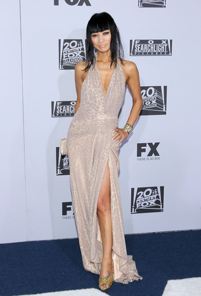 Bai Ling topped off her sexy halter gown with bold peep-toe pumps.