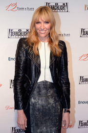 Toni Collette finished off her look in edgy style with a black leather jacket when she attended the Fox Searchlight TIFF party.