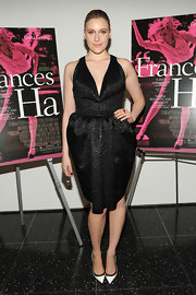 Greta Gerwig chose a shimmery black dress with a deep V-neck and a fun bubble skirt for her look at the premiere of 'Frances Ha.'
