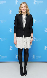 Greta Gerwig looked preppy at the 'Frances Ha' photocall in a black blazer layered over a mini dress.