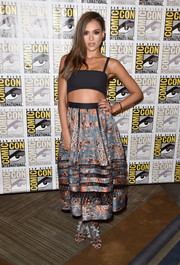 Jessica Alba let her printed Zimmerman skirt do the talking at 'Frank Miller's Sin City: A Dame To Kill For' press line at Comic-Con 2014.