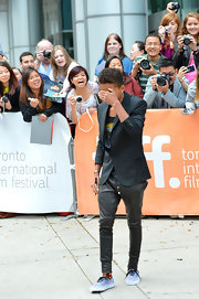 Jaden Smith paired gray skinny pants with a blazer for his formal look during the 2012 Toronto International Film Festival.