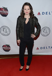 Sasha Cohen glammed up her red carpet look with this metallic silver jacket.